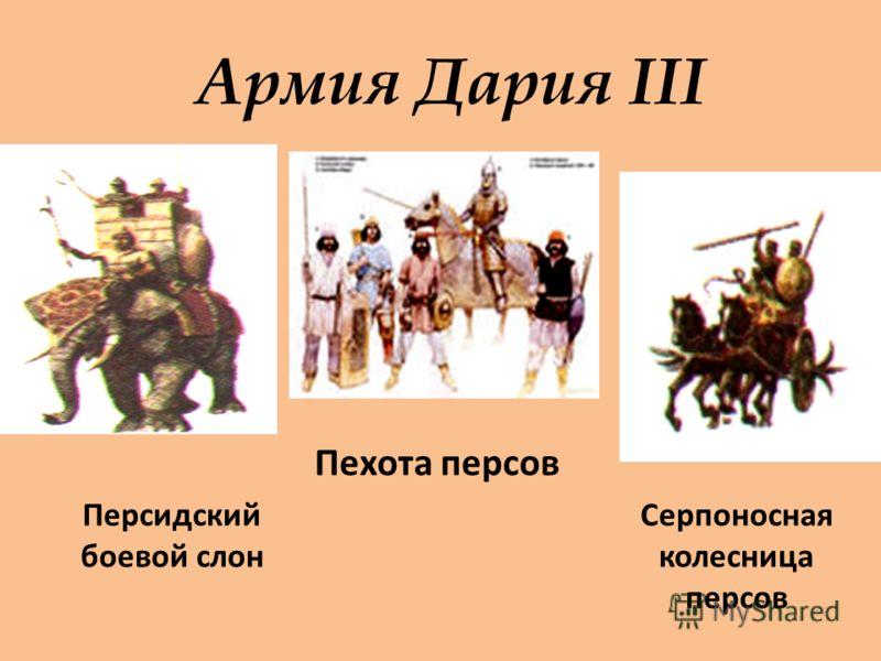 Армия Дария III Персидский боевой слон Серпоносная колесница персов Пехота персов