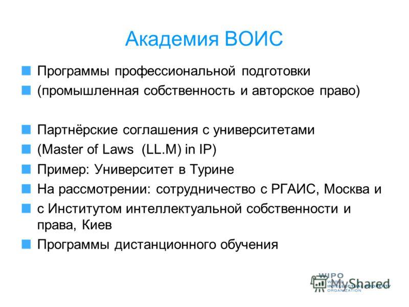 Академия ВОИС Программы профессиональной подготовки (промышленная собственность и авторское право) Партнёрские соглашения с университетами (Master of Laws (LL.M) in IP) Пример: Университет в Турине На рассмотрении: сотрудничество с РГАИС, Москва и c