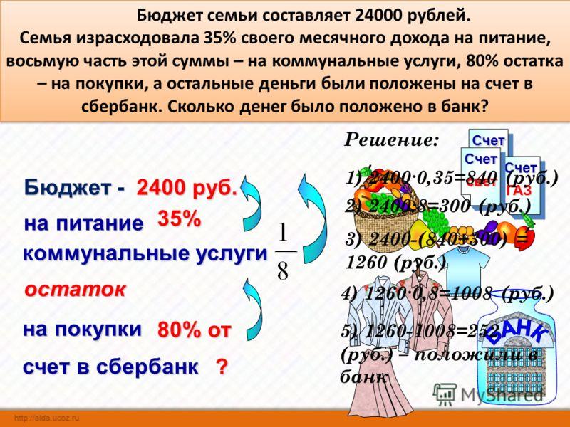 СчетСчет ГАЗ Счет свет Бюджет семьи составляет 24000 рублей. Семья израсходовала 35% своего месячного дохода на питание, восьмую часть этой суммы – на коммунальные услуги, 80% остатка – на покупки, а остальные деньги были положены на счет в сбербанк.