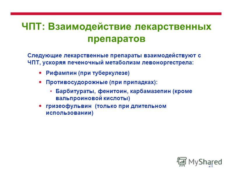 21 ЧПТ: Взаимодействие лекарственных препаратов Следующие лекарственные препараты взаимодействуют с ЧПТ, ускоряя печеночный метаболизм левоноргестрела: Рифампин (при туберкулезе) Противосудорожные (при припадках): Барбитураты, фенитоин, карбамазепин