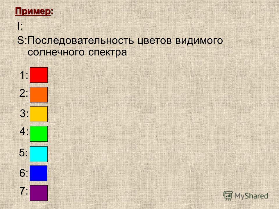 I: S:Последовательность цветов видимого солнечного спектра Пример: 1: 2: 3: 4: 5: 6: 7: