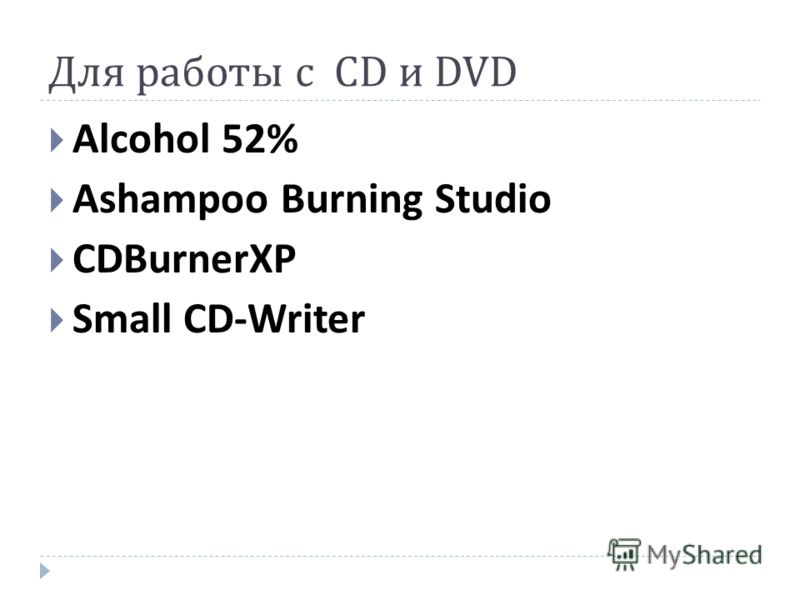 Для работы с CD и DVD Alcohol 52% Ashampoo Burning Studio CDBurnerXP Small CD-Writer