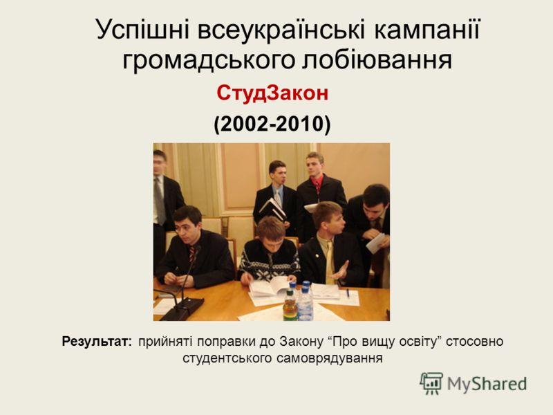 Успішні всеукраїнські кампанії громадського лобіювання СтудЗакон ( 2002-2010) Результат: прийняті поправки до Закону Про вищу освіту стосовно студентського самоврядування