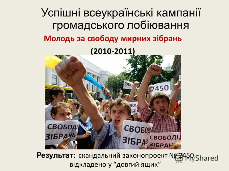 Успішні всеукраїнські кампанії громадського лобіювання Молодь за свободу мирних зібрань (2010-2011) Результат: скандальний законопроект 2450 відкладено у довгий ящик