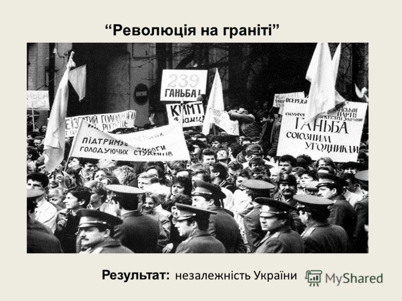 Результат: незалежність України Революція на граніті