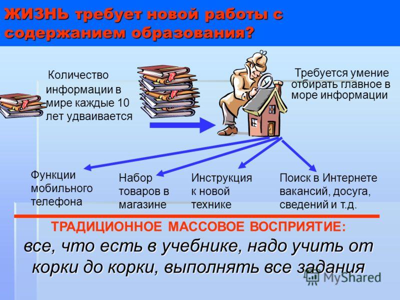 ЖИЗНЬ требует новой работы с содержанием образования? Количество информации в мире каждые 10 лет удваивается Требуется умение отбирать главное в море информации ТРАДИЦИОННОЕ МАССОВОЕ ВОСПРИЯТИЕ: все, что есть в учебнике, надо учить от корки до корки,