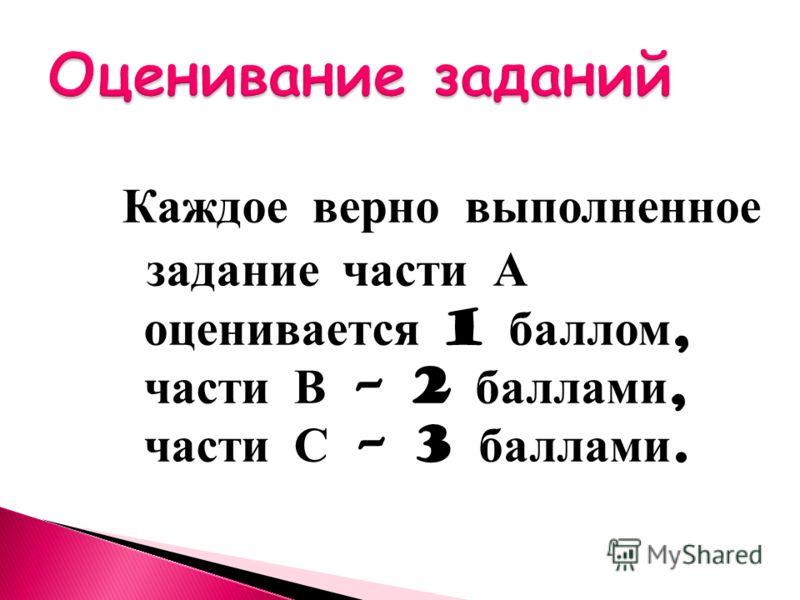Каждое верно выполненное задание части А оценивается 1 баллом, части В – 2 баллами, части С – 3 баллами.