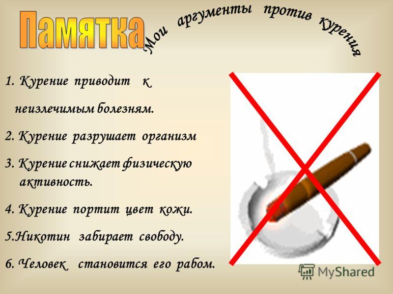 1.Курение приводит к неизлечимым болезням. 2. Курение разрушает организм 3. Курение снижает физическую активность. 4. Курение портит цвет кожи. 5.Никотин забирает свободу. 6. Человек становится его рабом.
