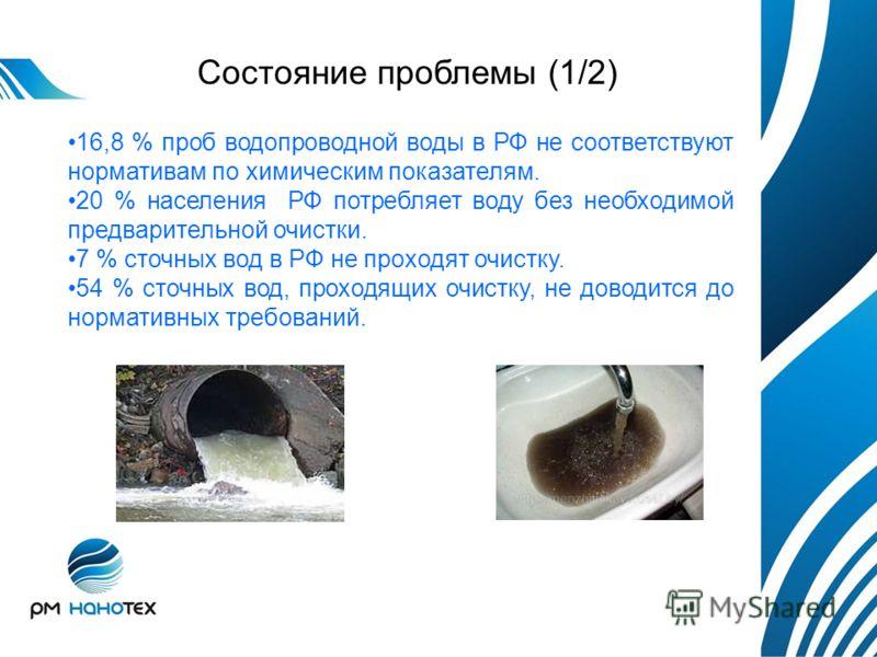 16,8 % проб водопроводной воды в РФ не соответствуют нормативам по химическим показателям. 20 % населения РФ потребляет воду без необходимой предварительной очистки. 7 % сточных вод в РФ не проходят очистку. 54 % сточных вод, проходящих очистку, не д