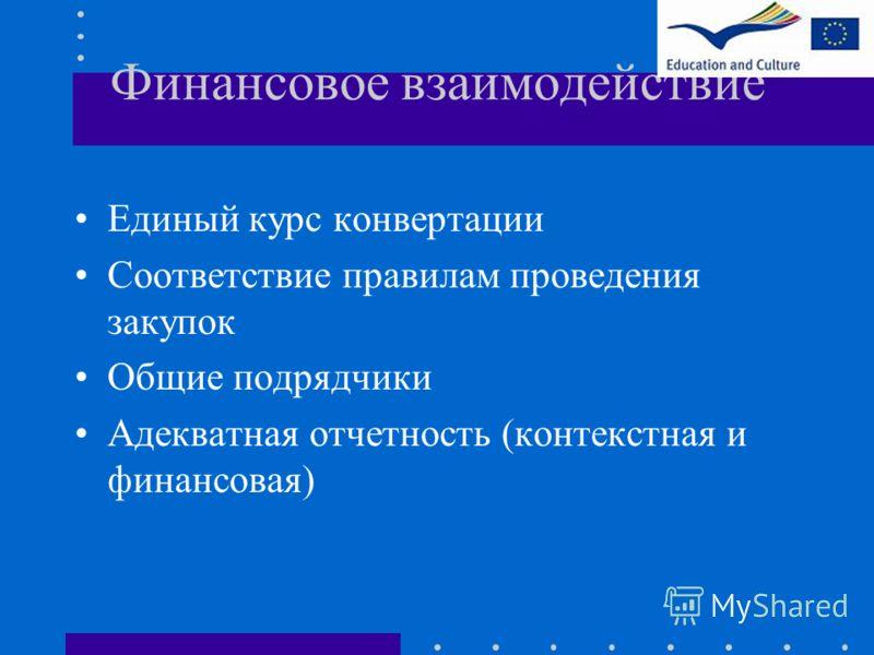 Финансовое взаимодействие Единый курс конвертации Соответствие правилам проведения закупок Общие подрядчики Адекватная отчетность (контекстная и финансовая)
