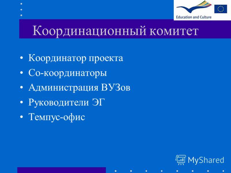 Координационный комитет Координатор проекта Со-координаторы Администрация ВУЗов Руководители ЭГ Темпус-офис