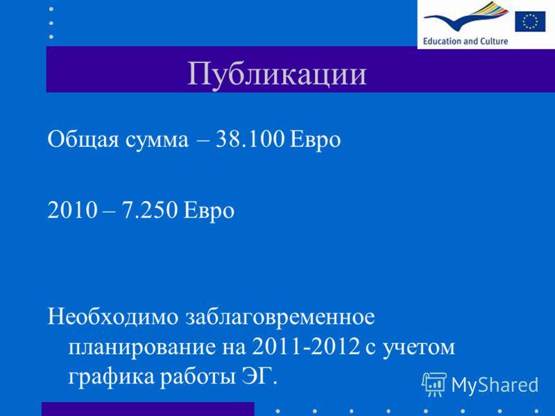 Публикации Общая сумма – 38.100 Евро 2010 – 7.250 Евро Необходимо заблаговременное планирование на 2011-2012 с учетом графика работы ЭГ.