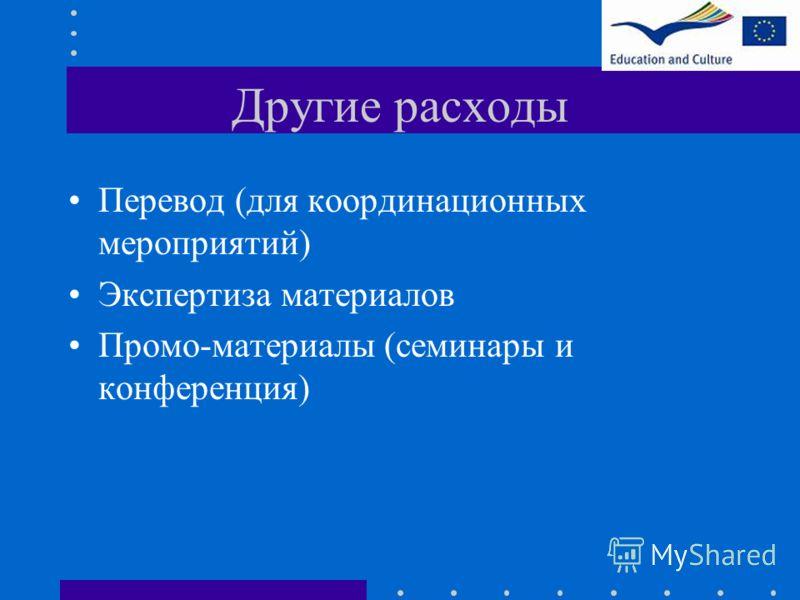 Другие расходы Перевод (для координационных мероприятий) Экспертиза материалов Промо-материалы (семинары и конференция)