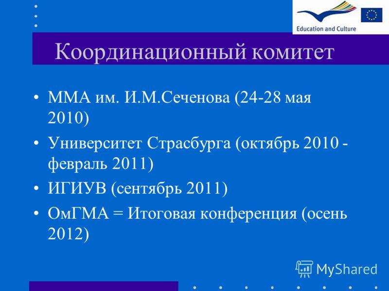 Координационный комитет ММА им. И.М.Сеченова (24-28 мая 2010) Университет Страсбурга (октябрь 2010 - февраль 2011) ИГИУВ (сентябрь 2011) ОмГМА = Итоговая конференция (осень 2012)