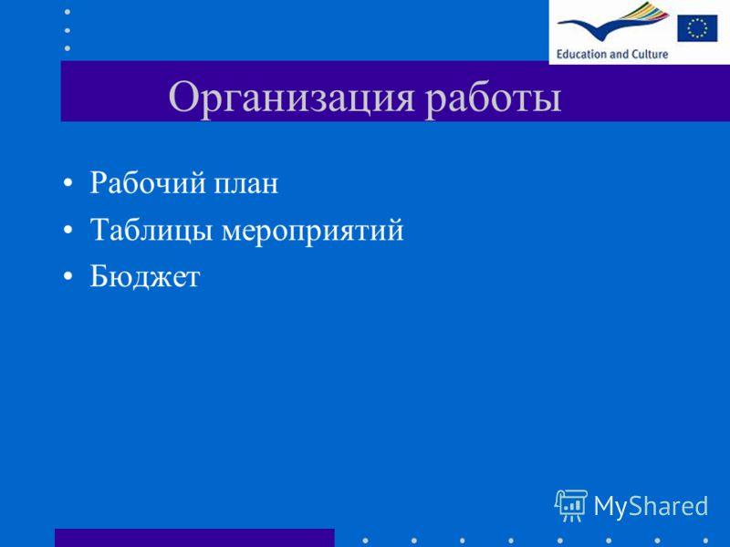 Организация работы Рабочий план Таблицы мероприятий Бюджет