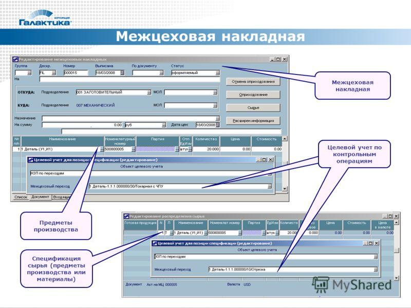 Межцеховая накладная Спецификация сырья (предметы производства или материалы) Целевой учет по контрольным операциям Предметы производства