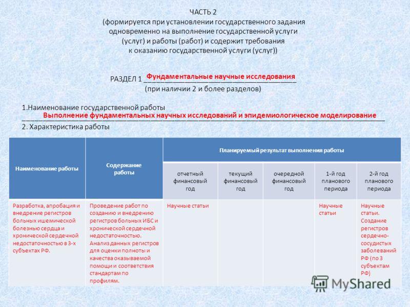ЧАСТЬ 2 (формируется при установлении государственного задания одновременно на выполнение государственной услуги (услуг) и работы (работ) и содержит требования к оказанию государственной услуги (услуг)) РАЗДЕЛ 1 ______________________________________