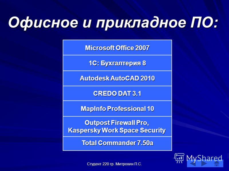 Студент 220 гр. Митрохин П.С. Офисное и прикладное ПО: Microsoft Office 2007 Microsoft Office 2007 CREDO DAT 3.1 CREDO DAT 3.1 Autodesk AutoCAD 2010 Autodesk AutoCAD 2010 Total Commander 7.50а Total Commander 7.50а 1С: Бухгалтерия 8 1С: Бухгалтерия 8
