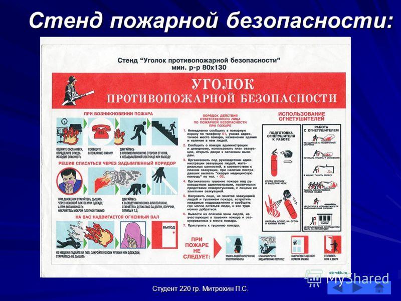 Студент 220 гр. Митрохин П.С. Стенд пожарной безопасности: