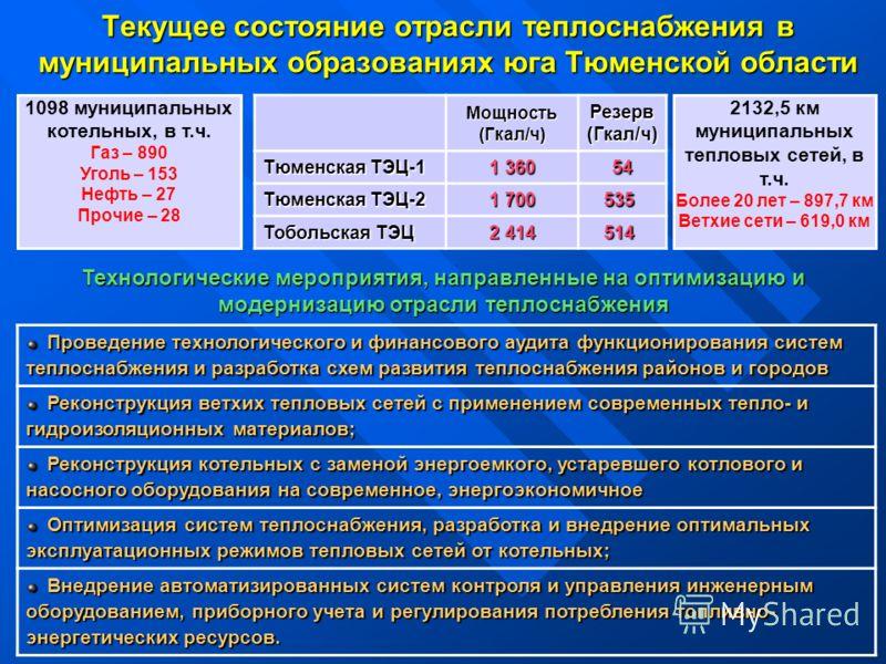 Текущее состояние отрасли теплоснабжения в муниципальных образованиях юга Тюменской области Проведение технологического и финансового аудита функционирования систем теплоснабжения и разработка схем развития теплоснабжения районов и городов Проведение