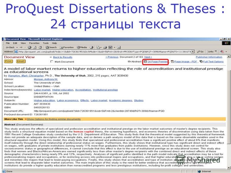 ProQuest Dissertations & Theses : 24 страницы текста