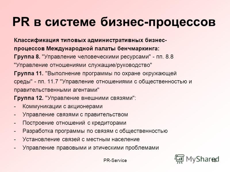 PR-Service16 PR в системе бизнес-процессов Классификация типовых административных бизнес- процессов Международной палаты бенчмаркинга: Группа 8.