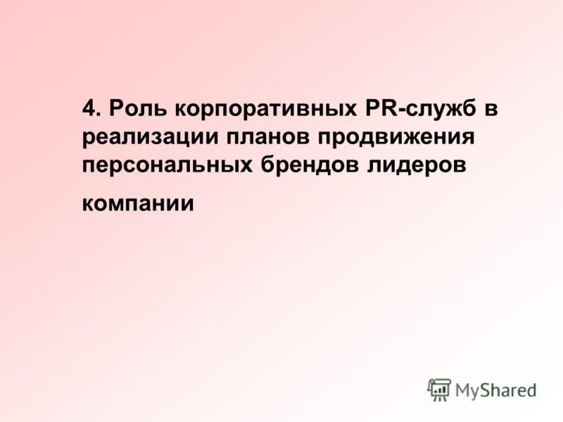 4. Роль корпоративных PR-служб в реализации планов продвижения персональных брендов лидеров компании