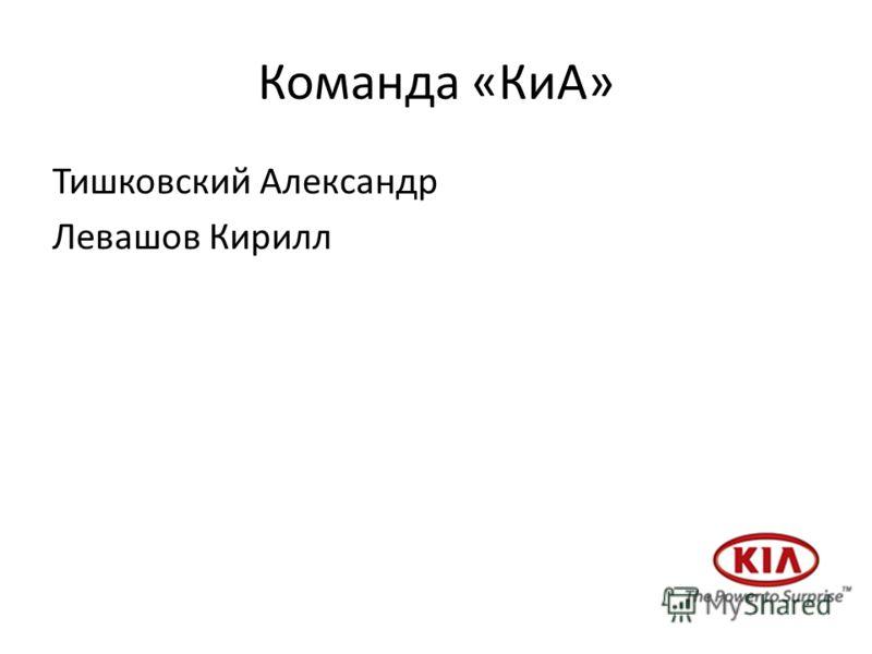Команда «КиА» Тишковский Александр Левашов Кирилл