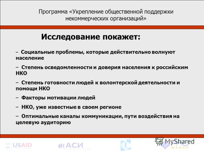 – Социальные проблемы, которые действительно волнуют население – Степень осведомленности и доверия населения к российским НКО – Степень готовности людей к волонтерской деятельности и помощи НКО – Факторы мотивации людей – НКО, уже известные в своем р
