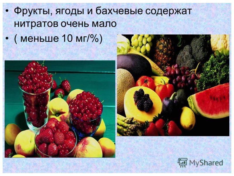 Фрукты, ягоды и бахчевые содержат нитратов очень мало ( меньше 10 мг/%)