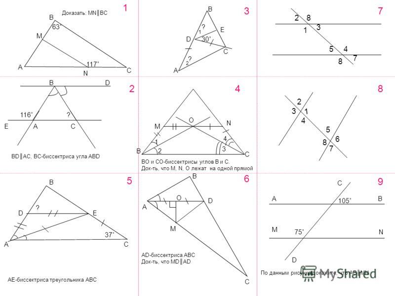 А М В С N 1 2 3 4 BD EАC A B E C D O M N B C B CA DE 5 A B D M O C 6 2 8 1 3 4 5 7 8 1 3 4 2 5 8 6 7 117˚ 63˚ 30˚ ? ? Доказать: MNBC BDAC, BC-биссектриса угла ABD 116˚? BO и СО-биссектрисы углов В и С. Док-ть, что M, N, O лежат на одной прямой AE-бис