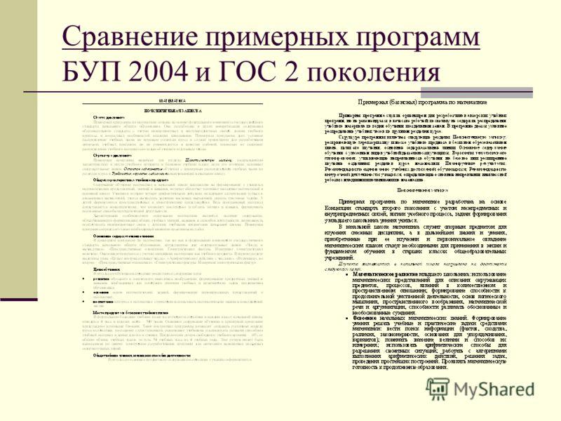 Сравнение примерных программ БУП 2004 и ГОС 2 поколения