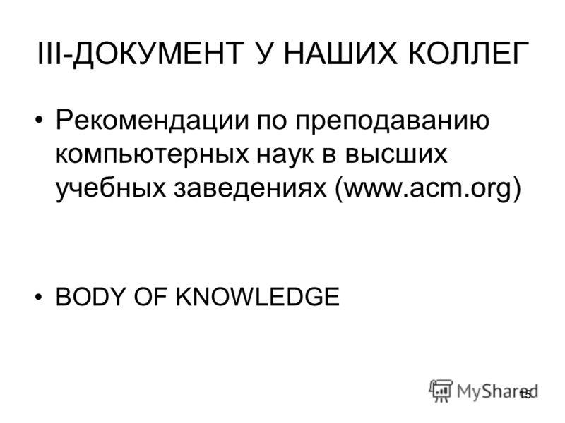 15 III-ДОКУМЕНТ У НАШИХ КОЛЛЕГ Рекомендации по преподаванию компьютерных наук в высших учебных заведениях (www.acm.org) BODY OF KNOWLEDGE