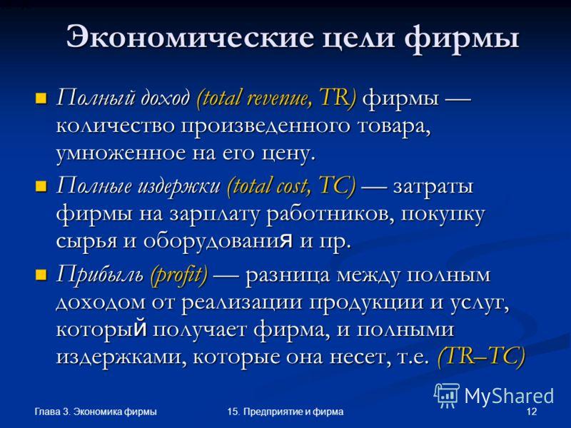 Глава 3. Экономика фирмы 1215. Предприятие и фирма Экономические цели фирмы Полный доход (total revenue, TR) фирмы количество произведенного товара, умноженное на его цену. Полный доход (total revenue, TR) фирмы количество произведенного товара, умно