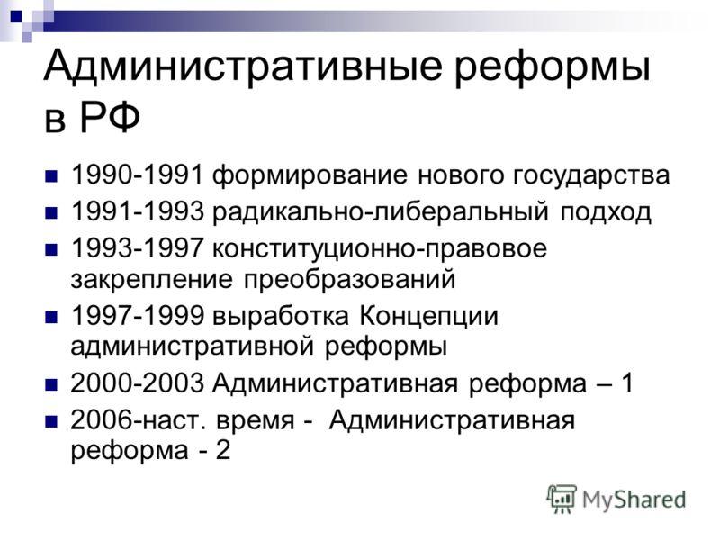 Административные реформы в РФ 1990-1991 формирование нового государства 1991-1993 радикально-либеральный подход 1993-1997 конституционно-правовое закрепление преобразований 1997-1999 выработка Концепции административной реформы 2000-2003 Администрати