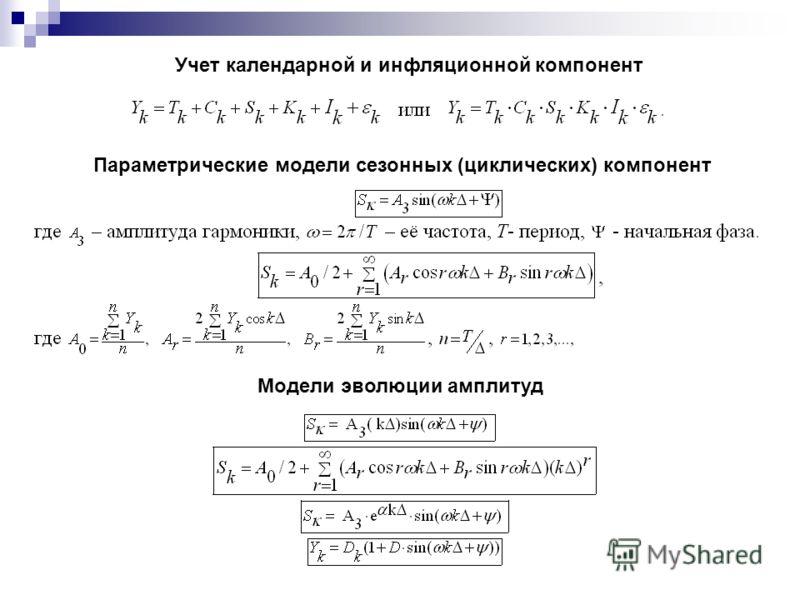 Учет календарной и инфляционной компонент Параметрические модели сезонных (циклических) компонент Модели эволюции амплитуд