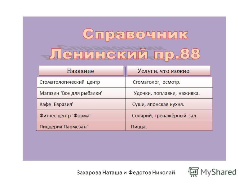 Захарова Наташа и Федотов Николай