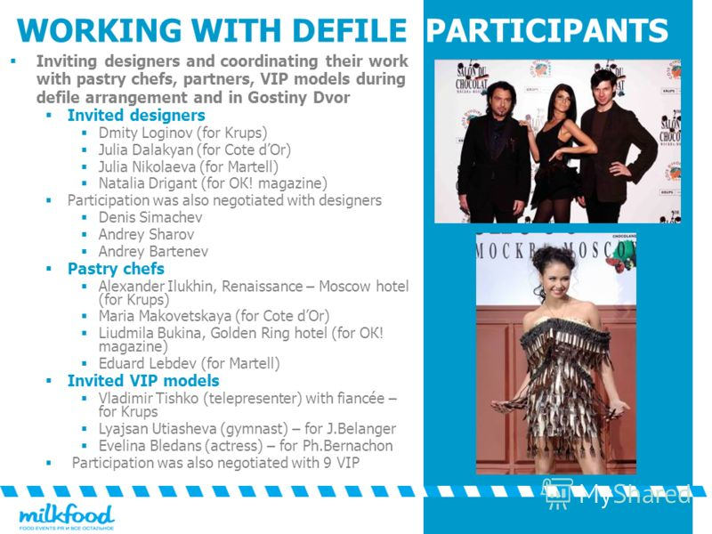 WORKING WITH DEFILE PARTICIPANTS Inviting designers and coordinating their work with pastry chefs, partners, VIP models during defile arrangement and in Gostiny Dvor Invited designers Dmity Loginov (for Krups) Julia Dalakyan (for Cote dOr) Julia Niko