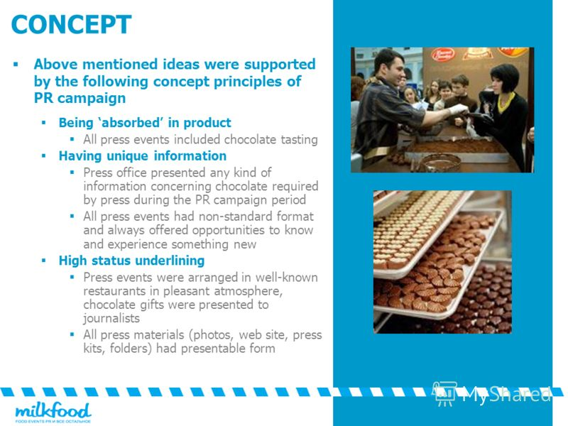 CONCEPT Above mentioned ideas were supported by the following concept principles of PR campaign Being absorbed in product All press events included chocolate tasting Having unique information Press office presented any kind of information concerning