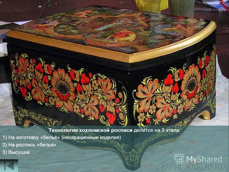 Технология хохломской росписи делится на 3 этапа: 1) На изготовку «бельё» (неокрашенные изделия) 2) На роспись «белья» 3) Высушка