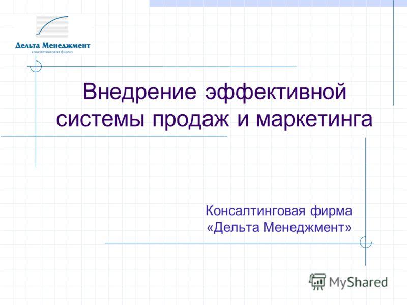 Внедрение эффективной системы продаж и маркетинга Консалтинговая фирма «Дельта Менеджмент»