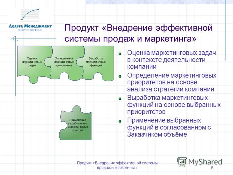 Продукт «Внедрение эффективной системы продаж и маркетинга» 5 Оценка маркетинговых задач в контексте деятельности компании Определение маркетинговых приоритетов на основе анализа стратегии компании Выработка маркетинговых функций на основе выбранных