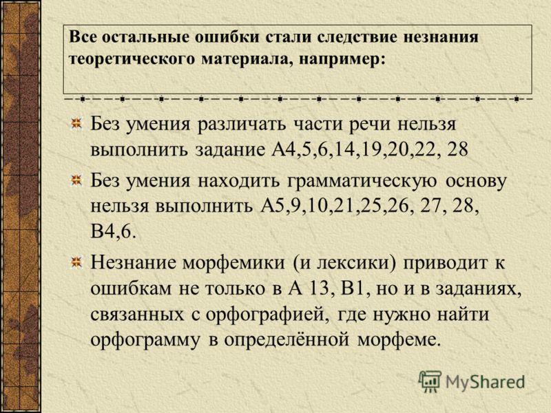 Все остальные ошибки стали следствие незнания теоретического материала, например: Без умения различать части речи нельзя выполнить задание А4,5,6,14,19,20,22, 28 Без умения находить грамматическую основу нельзя выполнить А5,9,10,21,25,26, 27, 28, В4,