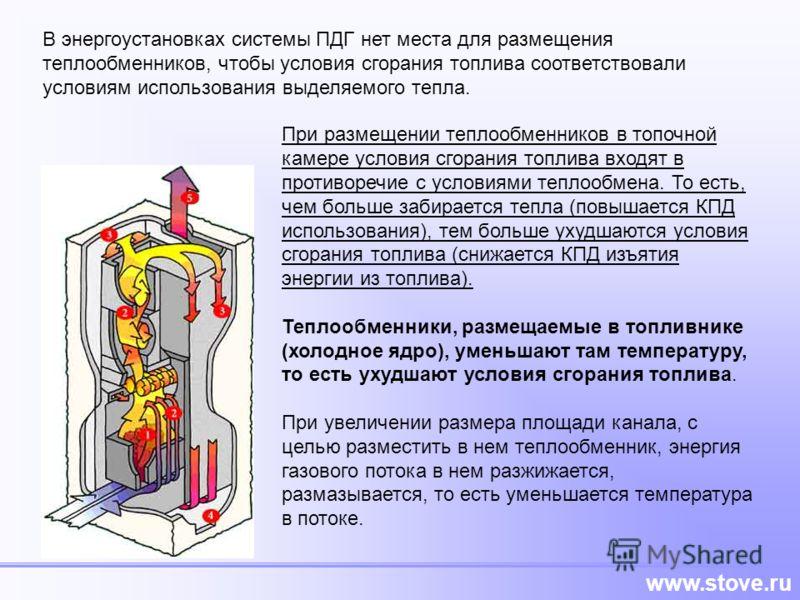 www.stove.ru В энергоустановках системы ПДГ нет места для размещения теплообменников, чтобы условия сгорания топлива соответствовали условиям использования выделяемого тепла. При размещении теплообменников в топочной камере условия сгорания топлива в