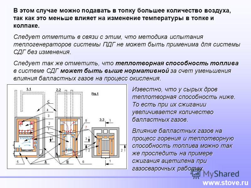 www.stove.ru В этом случае можно подавать в топку большее количество воздуха, так как это меньше влияет на изменение температуры в топке и колпаке. Следует отметить в связи с этим, что методика испытания теплогенераторов системы ПДГ не может быть при