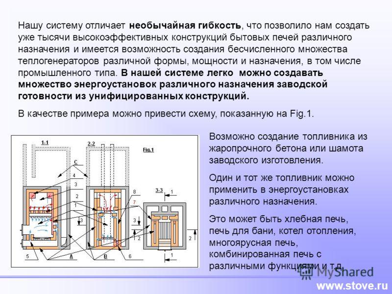www.stove.ru Нашу систему отличает необычайная гибкость, что позволило нам создать уже тысячи высокоэффективных конструкций бытовых печей различного назначения и имеется возможность создания бесчисленного множества теплогенераторов различной формы, м
