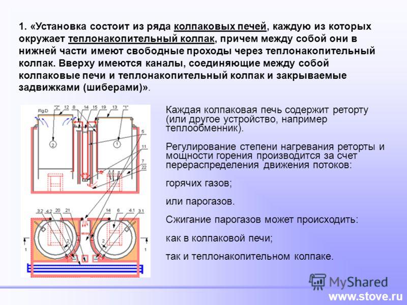 www.stove.ru 1. «Установка состоит из ряда колпаковых печей, каждую из которых окружает теплонакопительный колпак, причем между собой они в нижней части имеют свободные проходы через теплонакопительный колпак. Вверху имеются каналы, соединяющие между