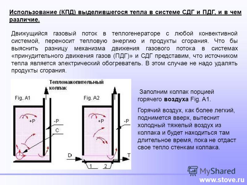 www.stove.ru Использование (КПД) выделившегося тепла в системе СДГ и ПДГ, и в чем различие. Движущийся газовый поток в теплогенераторе с любой конвективной системой, переносит тепловую энергию и продукты сгорания. Что бы выяснить разницу механизма дв