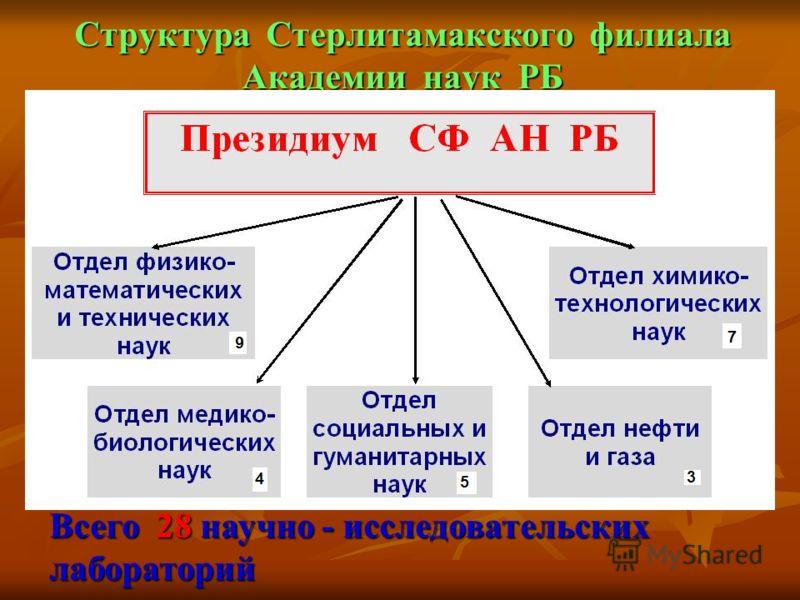 Структура Стерлитамакского филиала Академии наук РБ Всего 28 научно - исследовательских лабораторий