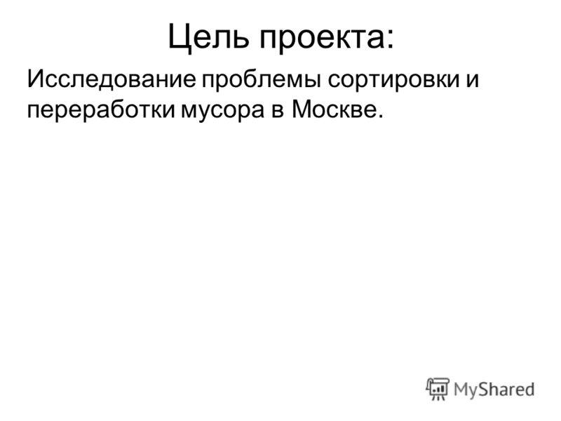 Цель проекта: Исследование проблемы сортировки и переработки мусора в Москве.